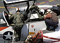 US Navy 040626-N-9293K-060 Student Pilots prepare to exit a T-45C Goshawk during flight operations aboard the USS Abraham Lincoln CVN 72.jpg