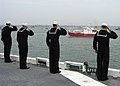 US Navy 050628-N-0938S-002 Sailors assigned to the amphibious assault ship USS Saipan (LHA 2), render salutes as HMS Endurance (A 171), carrying the Queen of England.jpg