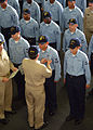 US Navy 050712-N-0962S-061 MCPON Terry Scott pins Enlisted Surface Warfare Specialist (ESWS) and Enlisted Aviation Warfare Specialist (EAWS) pins on nearly 50 Sailors.jpg