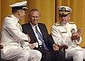 US Navy 050722-N-5390M-008 Secretary of Defense Donald Rumsfeld shakes hands with Adm. Mike Mullen, Chief of Naval Operations (CNO).jpg