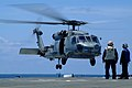 US Navy 050801-N-4772B-088 An SH 60B Seahawk helicopter assigned to Helicopter Anti-submarine Squadron Light Four Five (HSL-45) detachment one lands onto the flight deck of the amphibious dock landing.jpg