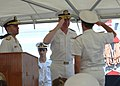 US Navy 060628-N-5863B-029 - Deputy Commander, U.S. Naval Forces Central Command-5th Fleet, Rear Adm. John Miller, salutes Italian Rear Adm. Salvatore Ruzittu, as Ruzittu assumed command of Combined Task Force (CTF-152).jpg