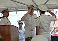 US Navy 060628-N-5863B-029 - Deputy Commander, U.S. Naval Forces Central Command-5th Fleet, Rear Adm. John Miller, salutes Italian Rear Adm. Salvatore Ruzittu, as Ruzittu assumed command of Combined Task Force (CTF-152).jpg