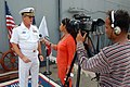 US Navy 070330-N-0000G-037 Commanding Officer USS Dubuque (LPD 8), Capt. William C. Hamilton gives an interview to Asian News International (ANI).jpg