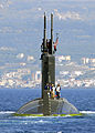 US Navy 070615-N-0780F-003 Los Angeles-class fast-attack submarine USS Scranton (SSN 756) departs Souda harbor following a routine port visit to Greece's largest island.jpg
