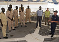 US Navy 080725-G-2443T-003 Petty Officer 1st Class Troy Matthews, assigned to the U.S. Coast Guard Cutter Dallas (WHEC 716), gives maritime law-enforcement training.jpg