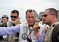 US Navy 100714-N-3885H-208 Former President George H.W. Bush watches flight operations from the landing signal officer's platform.jpg