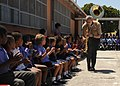 US Navy 110215-N-5085J-228 Musician 2nd Class Tony Carter, assigned to the U.S. Naval Forces Europe Brass Band, performs for children at the Buckro.jpg
