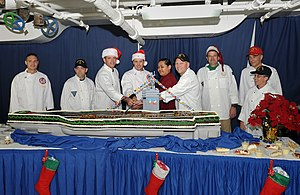 US Navy 112225-N-JN612-026 Christmas dinner served on the mess decks aboard USS Abraham Lincoln.jpg