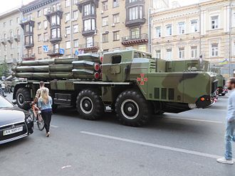 Ukrainian Ground Forces - Ukrainian BM-30 Smerch heavy multiple rocket launchers on parade in Kiev