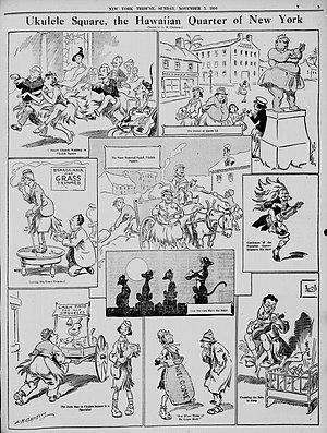 Ukulele - 1916 cartoon by Louis M. Glackens satirizing the current ukulele craze