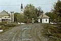Ulica Obrancov mieru a Poltarica-patak hídjánál, háttérben az evangélikus templom. Fortepan 60233.jpg