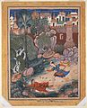 Umar Walks around Fulad Castle, Meets a Foot Soldier and Kicks Him to the Ground, Folio from a Hamzanama ca. 1570 (73x56.5 cm) Metmuseum N-Y.jpg