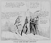 """Historical political cartoon. Caption reads """"Uncle Sam and his servants."""""""