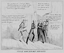 Историко-политическая карикатура.  Подпись гласит: «Дядя Сэм и его слуги».