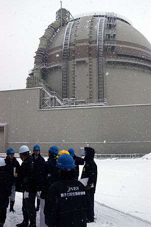 Ōi Nuclear Power Plant - Japanese officials and IAEA team members discuss safety measures outside Unit 3 of Japan's Oi Nuclear Power Plant in January 2012