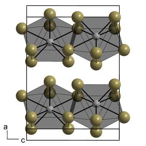 Uranium(III) iodide - Image: Unit cell of Pu Br 3