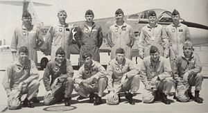 Spence M. Armstrong - USAF TPS Class 64C. Armstrong is standing, fourth from the left