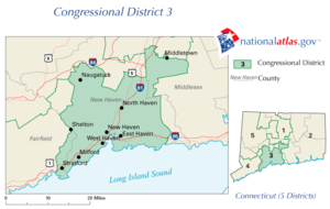 United States House of Representatives elections in Connecticut, 2008 - Image: United States House of Representatives, Connecticut District 3 map