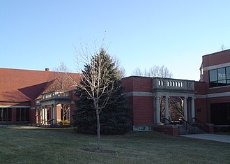 University of Dubuque - The arches from the former Steffens Hall. Blades Hall and the Dunlap Technology building are also visible.