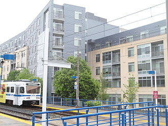 University of Baltimore - UB LRT stop at Mt. Royal Ave. In the background is the Fitzgerald building, one of two new student residence facilities at UB.