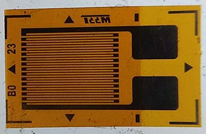 Strain gauge - An unmounted resistive foil strain gauge.