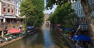 Oudegracht, the main canal of Utrecht, Netherl...