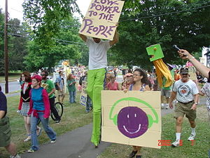 Community radio - Parade at the launch of WXOJ-LP, Valley Free Radio, in Northampton, Massachusetts in August 2005