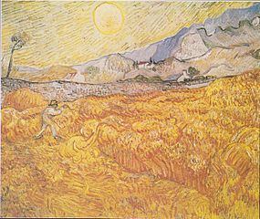 Wheat Field Behind Saint-Paul Hospital with a Reaper