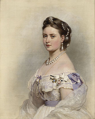 Royal Order of Victoria and Albert - The German Empress Victoria wearing the Order, along with the Prussian Order of Louise (also an order only for women)