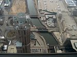 View downward from south side of Sears Tower, with 311 South Wacker Drive building and bridges (2005).jpg