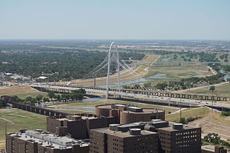 Margaret Hunt Hill Bridge - Image: View from Reunion Tower August 2015 23