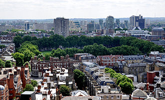 Vincent Square - View from the tower of Westminster Cathedral towards Vincent Square