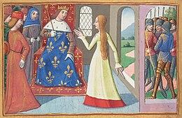 Enluminure représentant une femme devant un roi assis sur un trôle. Des soldats sont visibles hors du bâtiment