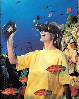 Virtuality (gaming) - A page from a Virtuality gaming system marketing piece showing the visette and controller.