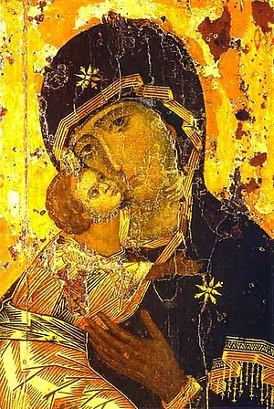 The Theotokos of Vladimir, one of the most venerated of Orthodox Christian icons of the Virgin Mary. Vladimirskaya.jpg
