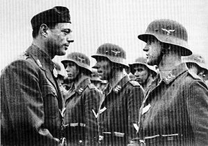 Croatian Air Force Legion - Croatian Minister of Armed Forces Ante Vokić visits the volunteers in Stockerau in 1944