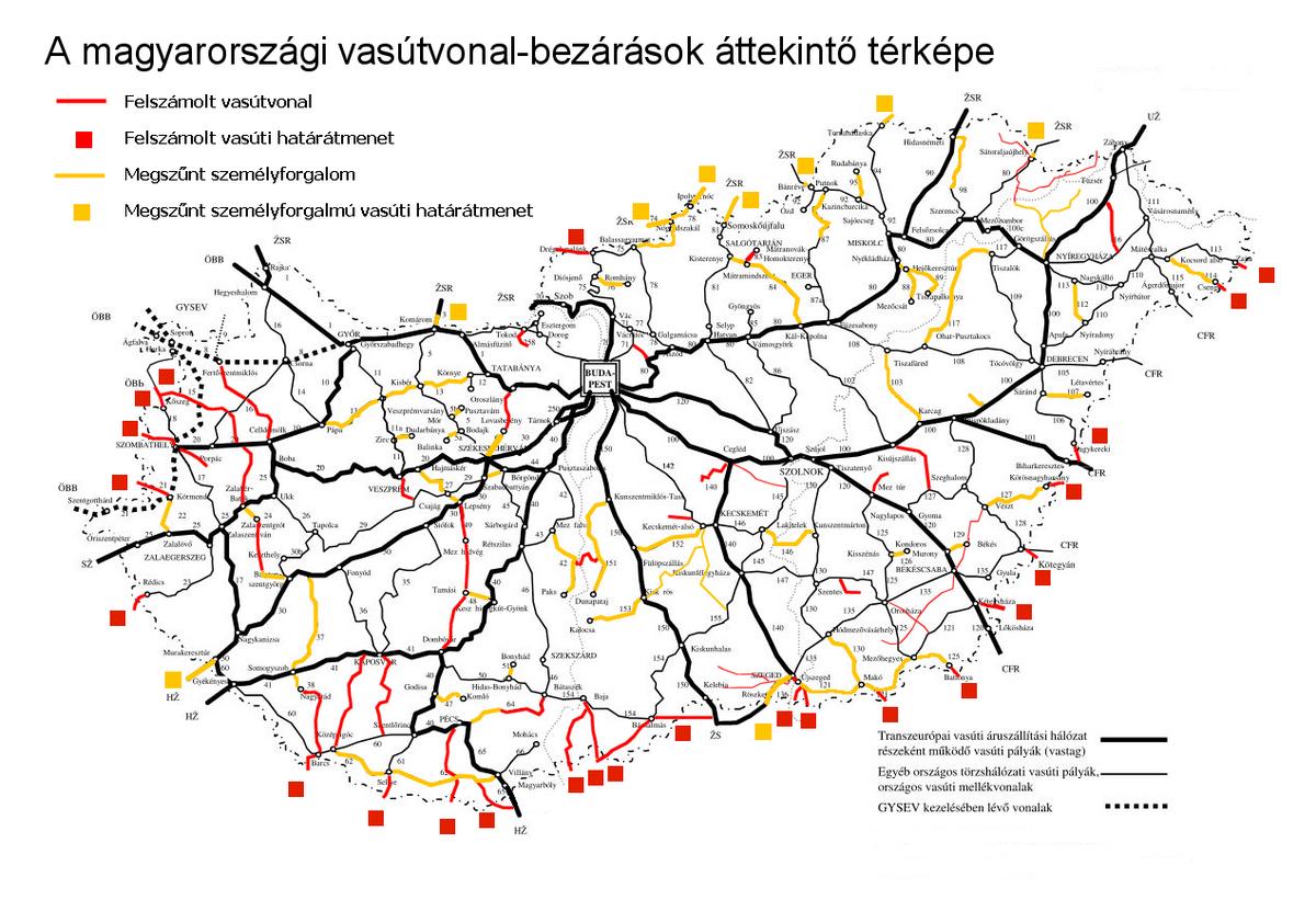 vasútvonal térkép Magyarország megszűnt vasútvonalainak listája – Wikipédia vasútvonal térkép