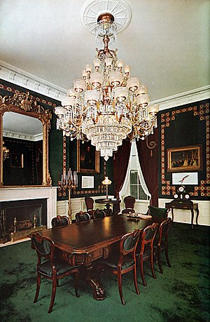 Treaty Room - The Treaty Room as decorated by Stéphane Boudin during the administration of John F. Kennedy The printed borders reproduce the wallpaper in the room where Lincoln died at the Petersen House.