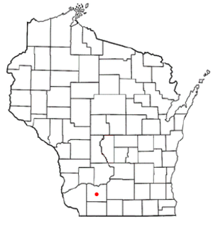 Dodgeville (town), Wisconsin - Image: WI Map doton Dodgeville