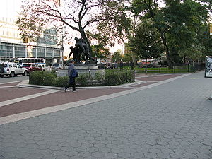 Mitchell Square Park - The World War I Memorial in the park.