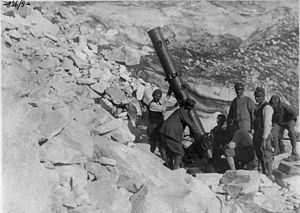 240 mm Trench Mortar - Italian model with long barrel, on the Adamello glacier