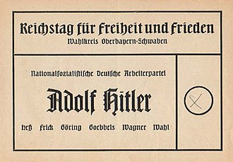 Show election - A German voting ballot from the parliamentary election in 1936 during the Third Reich. Adolf Hitler is shown as the only candidate.
