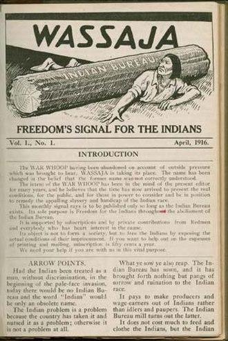 Carlos Montezuma - Wassaja magazine. April 1916.