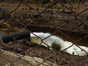 Industrial wastewater treatment - Mine wastewater effluent in Peru, with neutralized pH from tailing runoff.