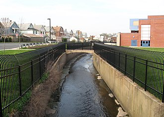 Urban runoff - Weasel Brook in Passaic, New Jersey has been channelized with concrete walls to control localized flooding.
