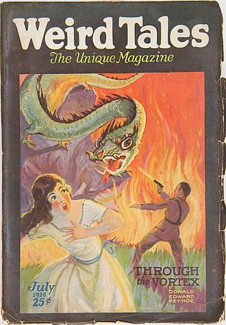 "Donald Keyhoe - Keyhoe's ""Through the Vortex"" was the cover story in the July 1926 Weird Tales"