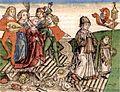 Weltkronik, Hartmann Schedel (1493), Colapse of Meuse bridge at Maastricht in 1275.jpg