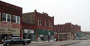 Lynching of Laura and L. D. Nelson - West Broadway Street, Okemah, in 2010. The Nelsons were taken to the county jail, then located at 510 West Broadway.