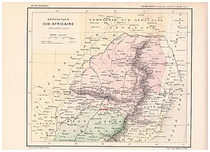 """Van der Westhuizen - Old French map of the Transvaal in 1896. Note that above the Free State town of Heilbron is another settlement indicated as Westhuizen, also note that 'w' is replaced with 'v' in names such as """"Vitvaters Rand"""". It is thus possible that at one point in time a town or area was named """"Westhuizen""""."""